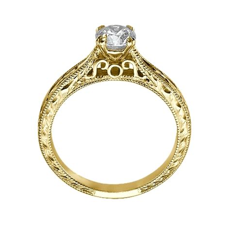 engraved engagement ring in 14k white gold couplez