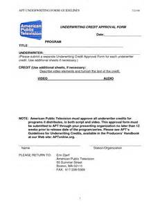 Credit Underwriting Template Underwriting Credit Approval Form
