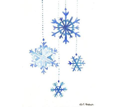 original watercolor christmas card snowflakes art