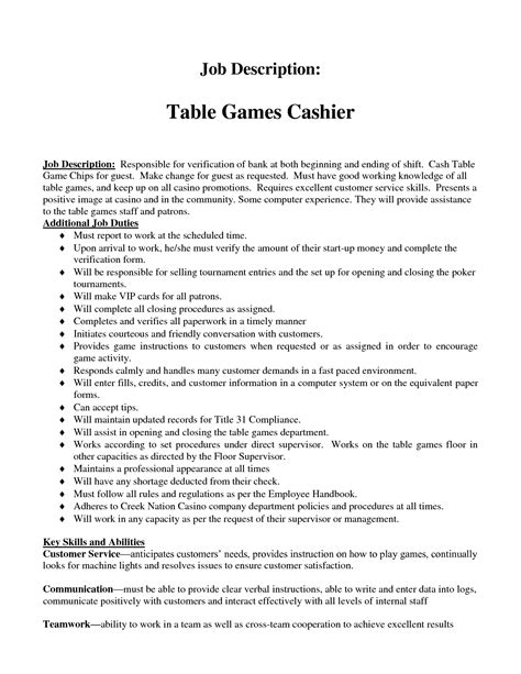 basic cashier duties cashier position resume