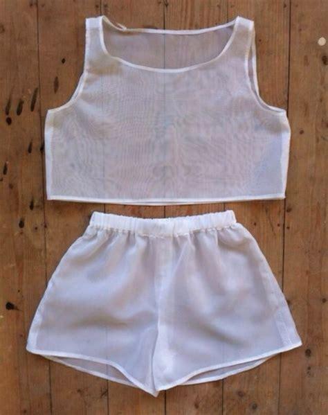 White Mesh 2pcs Shirt 17899 Womens Sale 2014 White Set Chiffon Mesh
