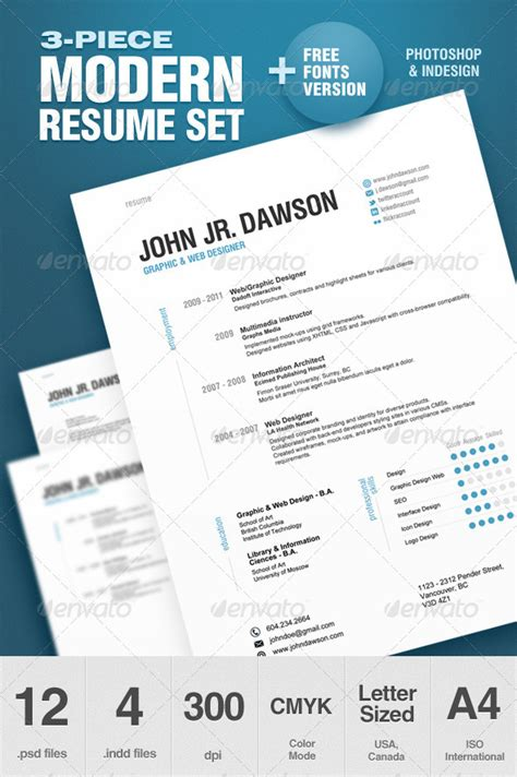 resume template photoshop cs5 3 modern resume set print ad templates