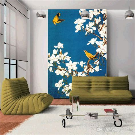 wall painted murals vintage wall mural painted flowers and birds photo