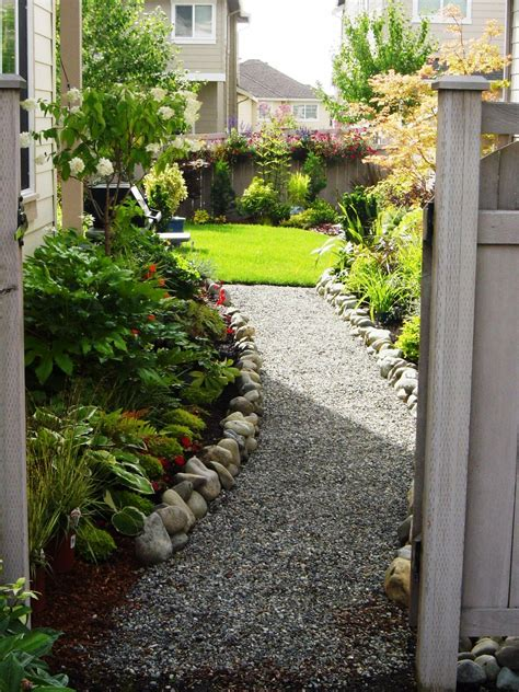 Small Narrow Backyard Ideas Narrow Side Yard House Design With Small Vegetable Garden Spaces And White Gravels With