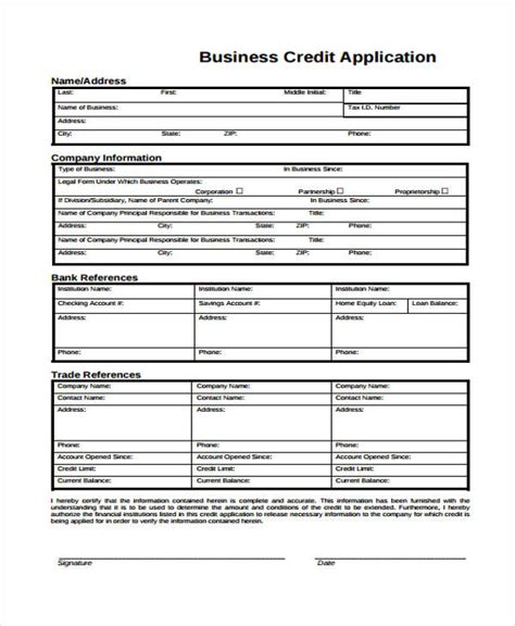 Sle Form Of Credit Application Business Application Format 28 Images Sle Business