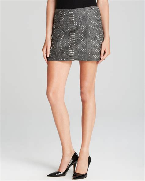 embellished leather mini skirt in gray