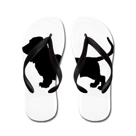 Basset Hound Silhouette Flip Flops by ShowYourShirt