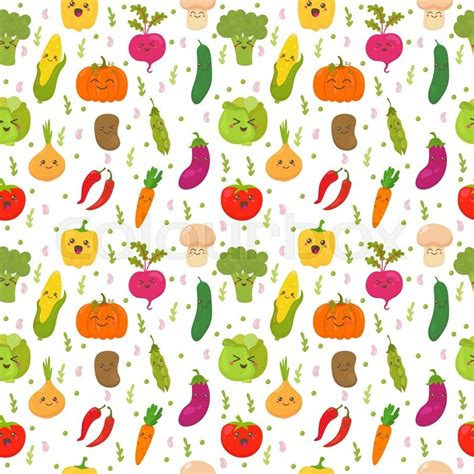 Farm Kitchen Design by Seamless Pattern With Funny Vegetables Cute Background