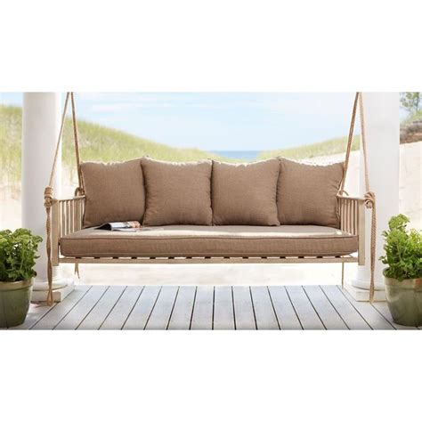 outdoor swing cushions with back hton bay cane patio swing with square back cushions