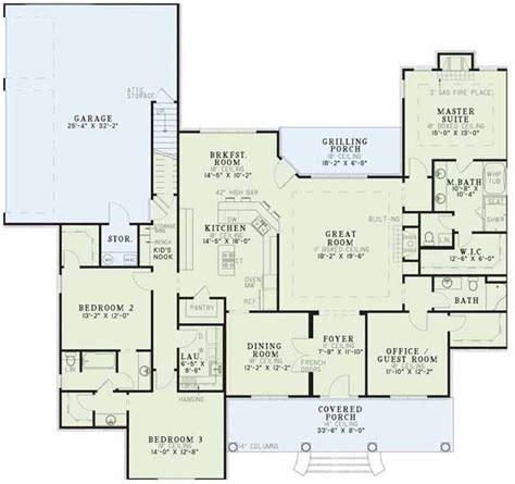 southern home floor plans southern style house plans 2556 square foot home 1