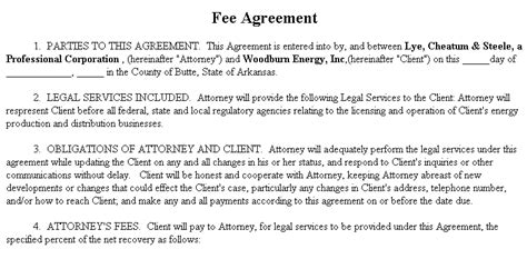 fee for service contract template exle document for services fee agreement
