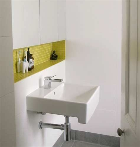 Recessed Shelves Bathroom Recessed Shelf Above Sink Interesting Bathroom Nook The Bright Pop Of Color Adds Drama