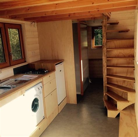 Small Log Cabin Plans by La Tiny House With Smart Staircase To Loft