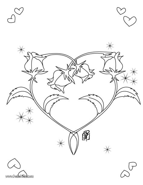 valentine s day coloring pages roses heart shape