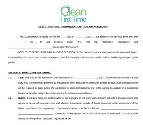 office cleaning contract template cleaning contract template 17 word pdf documents