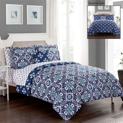 batik indigo blue medallion reversible 8 pc comforter bed set