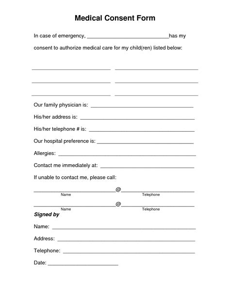 free printable medical consent form free medical consent