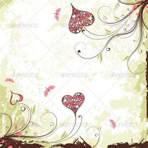Undangan Vintage Colour valentines day grunge background with hearts graphicriver