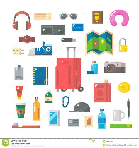travel items flat design of travel items set stock vector image 54829949