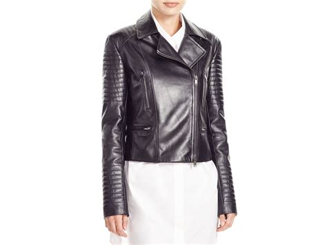 Quilted Moto Jacket S by Dkny Quilted Leather Moto Jacket In Black Lyst
