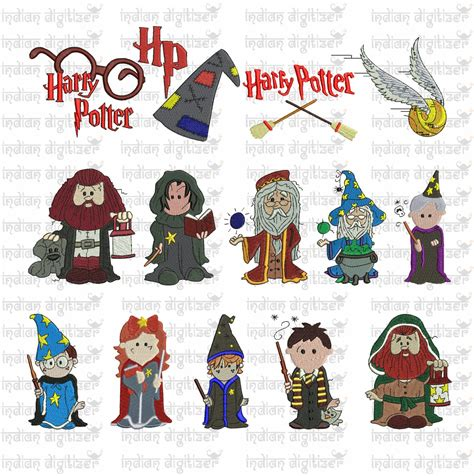 harry potter designs harry potter embroidery design chibis for 4in hoops a total of 14 designs buy the whole set
