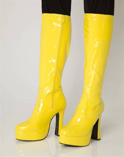 yellow knee high boots yellow gogo boots womens retro knee high platform boots