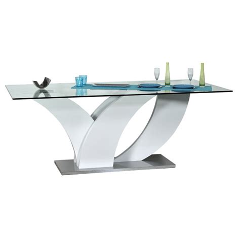 eclypse dining table in clear glass top with white gloss - Glass Top Esszimmer Tische