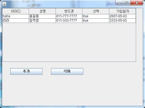 jtable swing 자바 스윙 swing jtable 2 모델객체로 추가 삭제하기 네이버 블로그