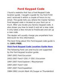 Ford Door Code by Ford Keypad Code