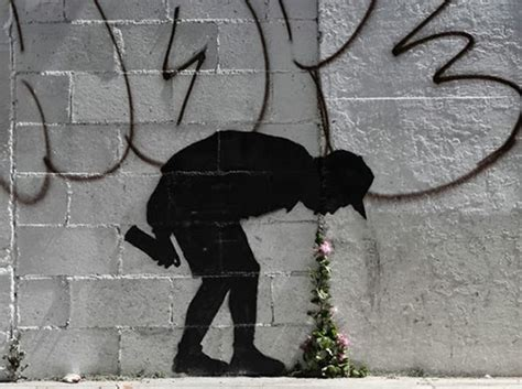 banksy throw  street art  flowers  unusual
