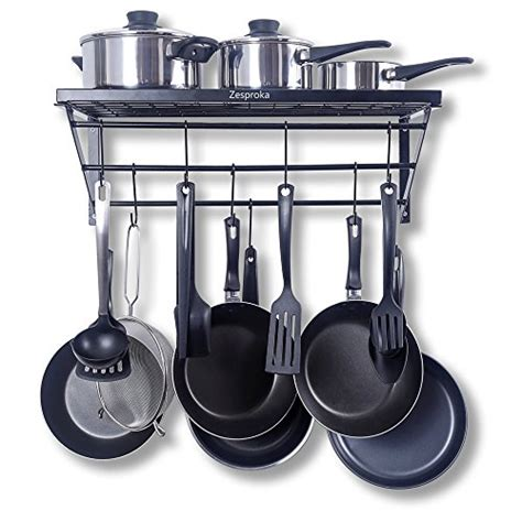 Kitchen Pot Rack Hooks zesproka e5 ylpv 6mnv zesproka kitchen wall pot pan rack with 10 hooks black shop findsimilar
