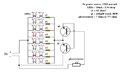 photoresistor grid leds and photoresistor