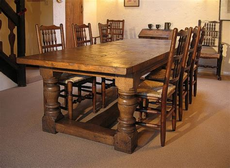 Heavy Dining Room Table heavy oak table and spindle back chairs in cheshire cottage