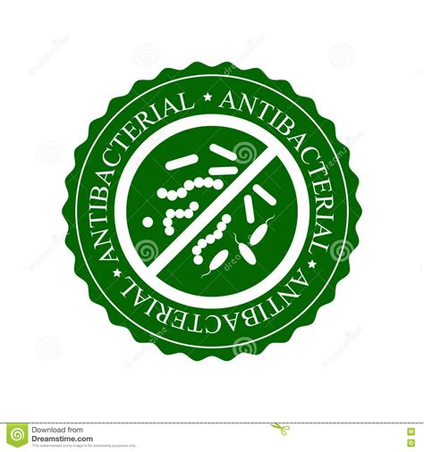 Set Ananti Green antibacterial sign with a set of bacteria vector illustration cartoondealer 73139534