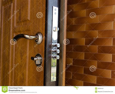Exterior Door Security Hardware Cylinders On A New High Security Lock Stock Image Image Of Wall Security 46935407