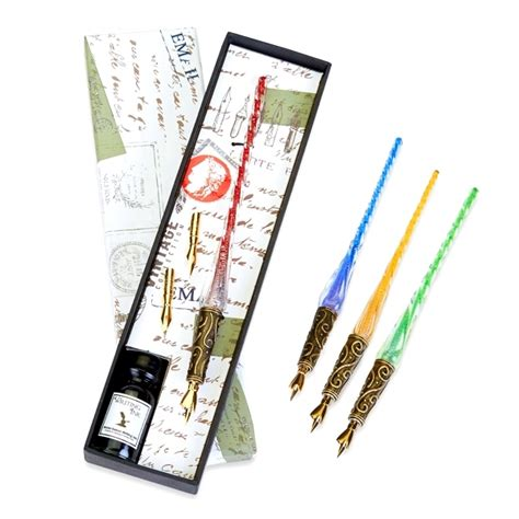 Glass Pen Ink glass pen ink set with decorative metal decor