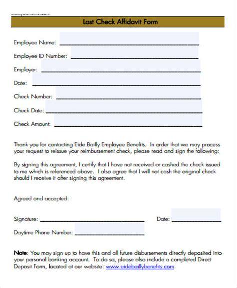 Lost Check Affidavit Template 8 Lost Affidavit Form Sles Free Sle Exle Format Download