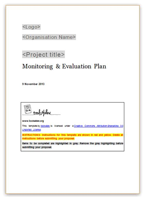 monitoring and evaluation work plan template monitoring and evaluation m e plan template tools4dev