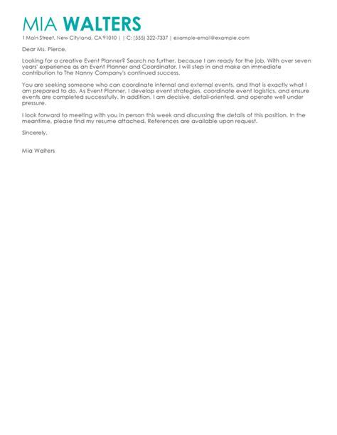 event assistant cover letter best event planner cover letter exles livecareer