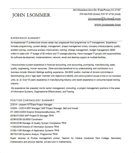 Project Manager Resume Pdf by Project Manager Resume Template 10 Free Word Excel