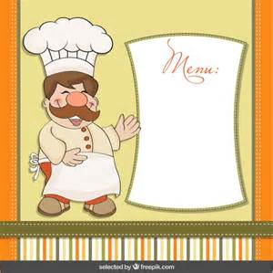 funny chef with menu template vector free download