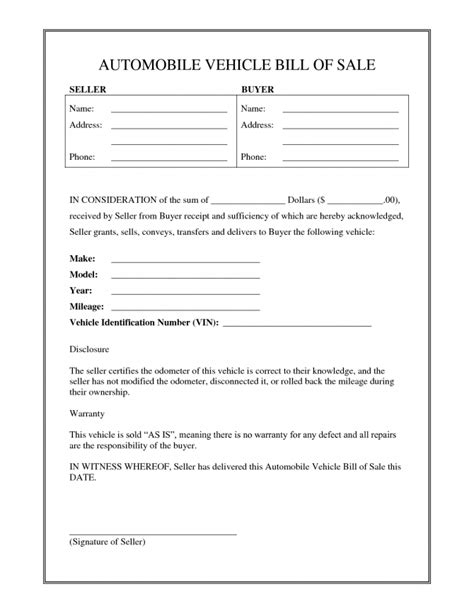 Bill Of Sale Template Nc Form Awesome Free For Car Firearm Askoverflow Bill Of Sale Form Nc Template