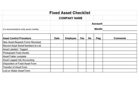 asset checklist template and banking controls vitalics