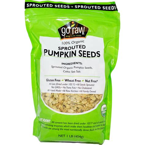 Organic Pumpkinseed go organic sprouted pumpkin seeds 1 lb 454 g