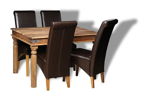 jali 120cm dining table 4 rollback leather
