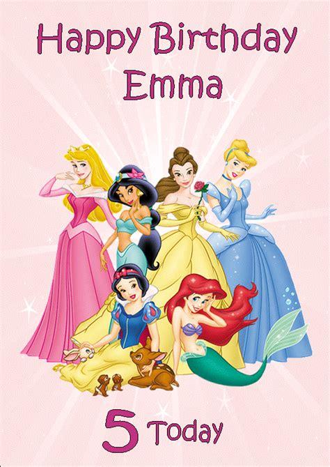 printable birthday cards disney princess personalised disney princess birthday card design 1