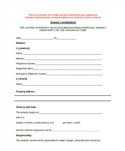 shorthold tenancy agreement template ast agreement template 28 assured shorthold tenancy
