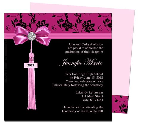 college graduation announcement template graduation announcements templates feminine style design