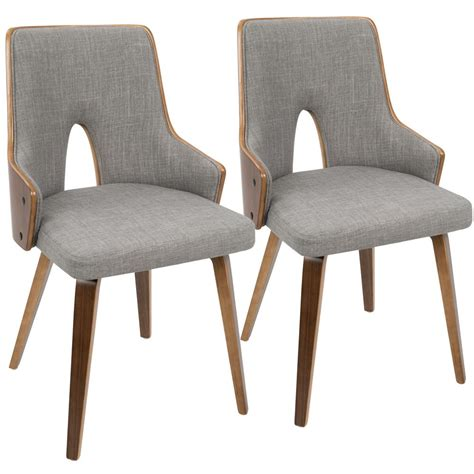 Accent Chair Set Of 2 Lumisource Stella Walnut And Light Grey Accent Chair Set Of 2 Ch Stla Wl Lgy2 The Home Depot