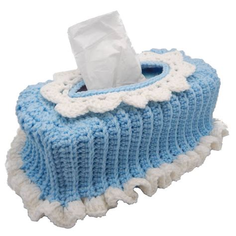 pattern crochet tissue box cover ruffled tissue box cover a free pattern listed in the